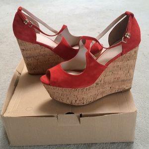 Zara 8 Red Suede Platform Wedgie Cork Sandals